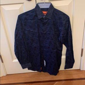 Tallia men's navy paisley button down shirt